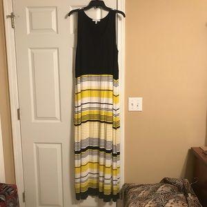 Black & Yellow Stripe Maxi Dress